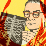 pop art illustration of a white male doctor with glasses looking at a chest x-ray while flames burn around him